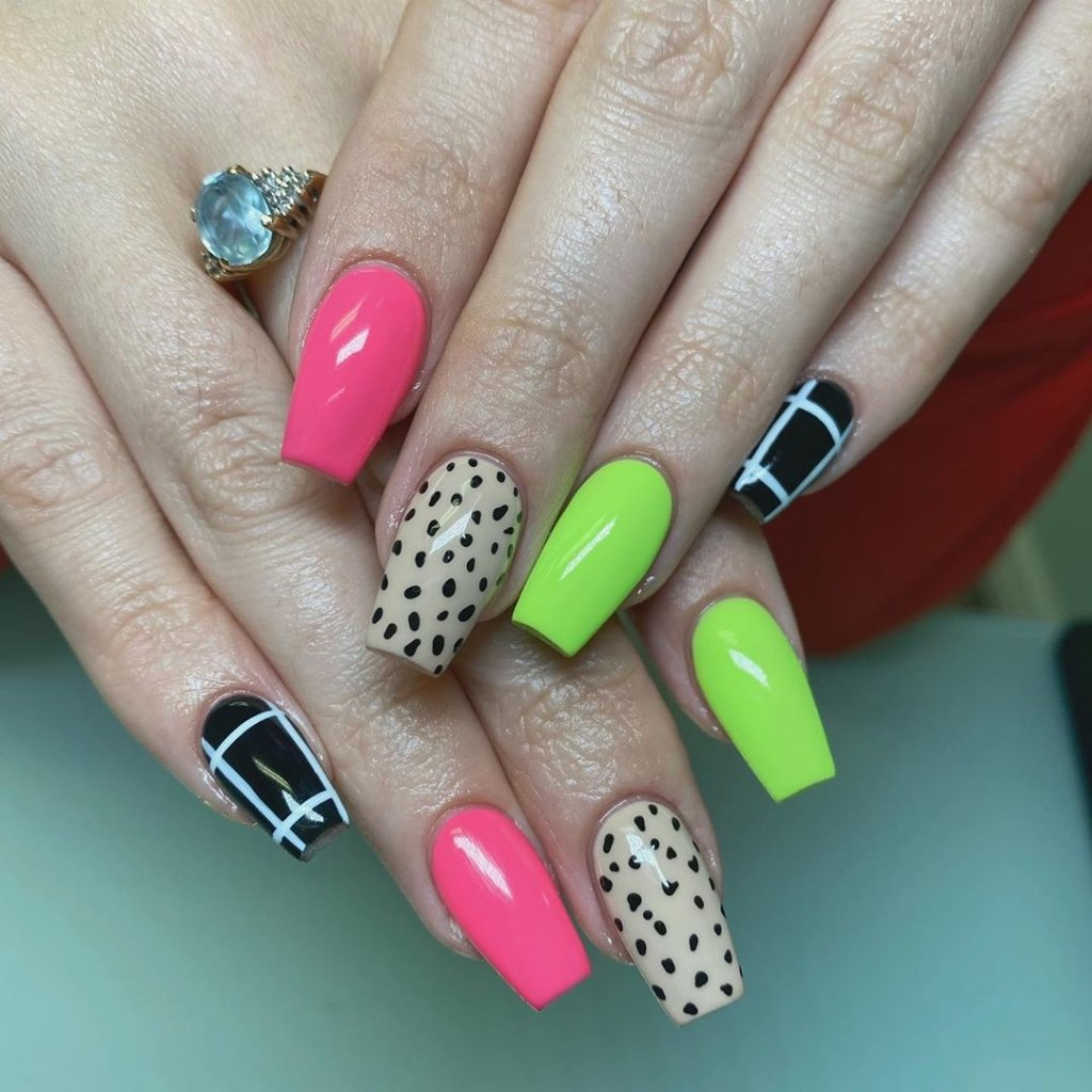 acrylic nail tips with designs