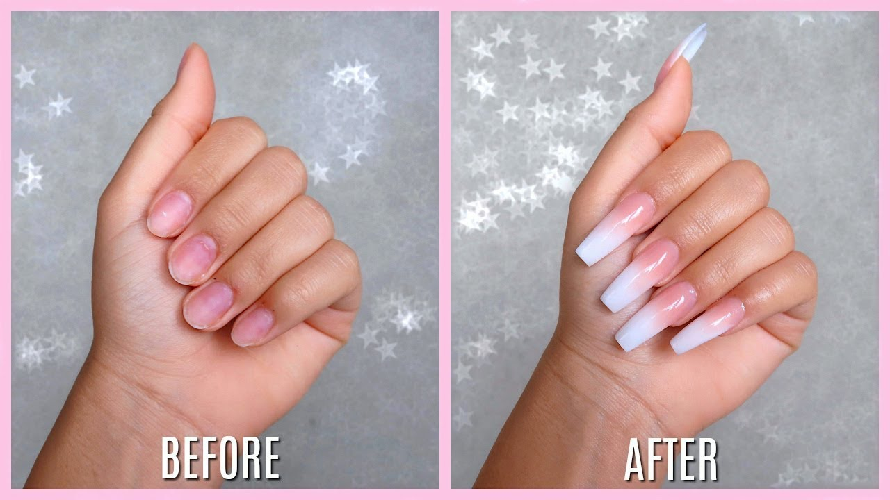 Apply Acrylic Nails before and after